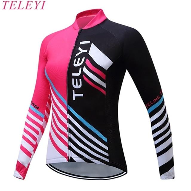 TELEYI Rosa Mulheres roupas de Ciclismo Equipe Topos MTB Ropa ciclismo  Maillot Bicicleta Longa camisa Feminina 6a27bfe9dc9bf
