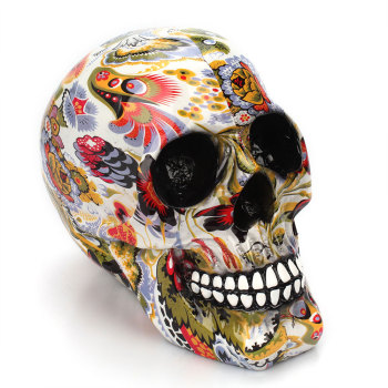 Horror Skull Decoration Resin Human Skeleton Skull Color Flower Painting Halloween Home Bar Table Desktop Decoration Craft Gift 1