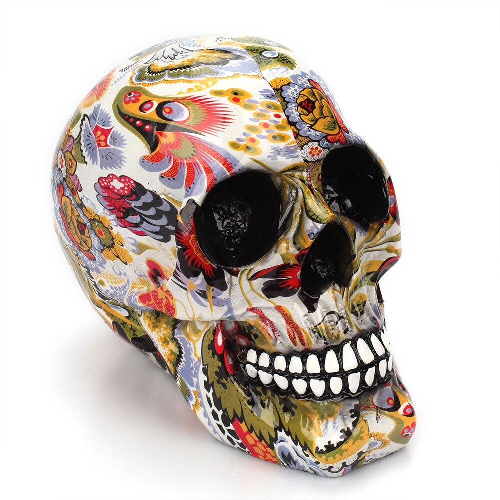 Horror calavera decoración resina esqueleto humano calavera Color flor pintura Halloween casa Bar mesa escritorio decoración artesanía regalo 1