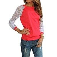 New Fashion T Shirt Women Floral Lace Patchwork O Neck Long Sleeve Shirt Plus Size Women