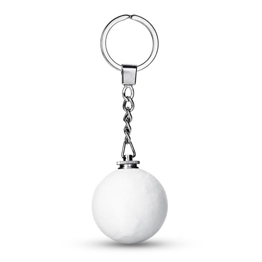 Mini Keychain Glow Gift Moon Light Glowing In The Dark Key Chain Silver Full Moon Glass Cabochon Keychain Lunar Eclipse Keyrings