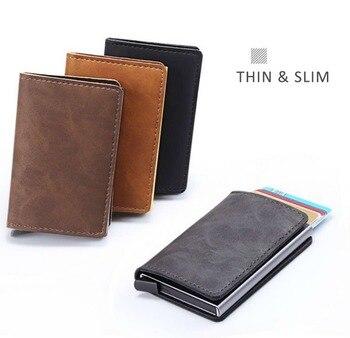 368e276b0 Casekey Desinger cuero Delgado Rfid Mini tarjetas carteras para hombres  aluminio Metal moneda monedero con bolsillo trasero Tarjeta de  Identificación ...