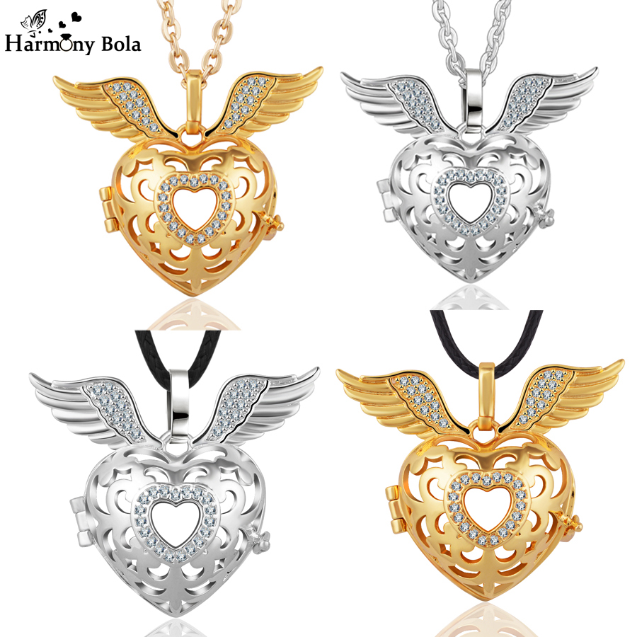 Fashion Angel Caller Wings Crystal Bola Locket Cage Pendant Necklace fit Eudora Harmony Ball Floating Locket for Pregnancy Gift
