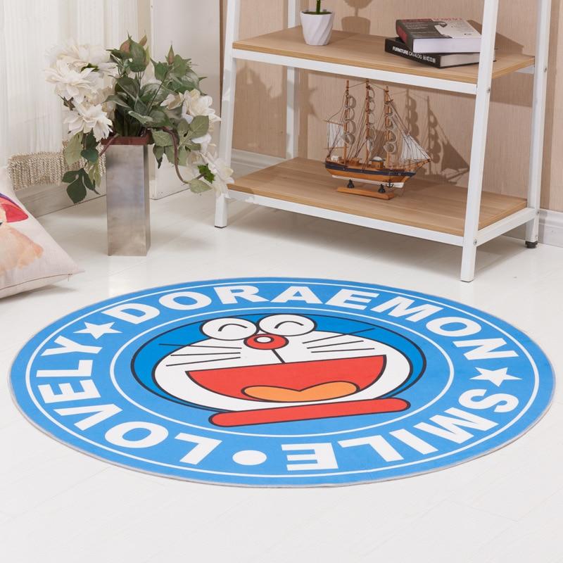 Doraemon 100cm Round blanket Fluffy Shaggy Area carpet Rug Home Room Carpet Floor Mats Bedroom Dornier Jacquard shag rugs