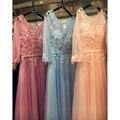 Pink/Blue Half Sleeve Beaded Lace Appliques Long Evening Dresses Vestido Festa Bride Formal Party Prom Gowns Robe De SoireeGD165