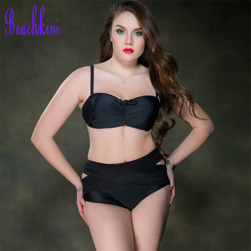 Front Criss Cross Bikini Set Push Up Solid Swimwear Women Plus Size Swimsuit 2017 High Waisted Pleated Bathing Suit inc new solid white women s size 8 sheer pleated front peasant blouse $69