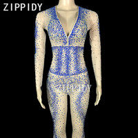 Blue Or Silver Glisten Rhinestones Jumpsuit Stretch Mesh Stones Women's Party Wear Nightclub Show Rompers Sexy 3 Colors Costume