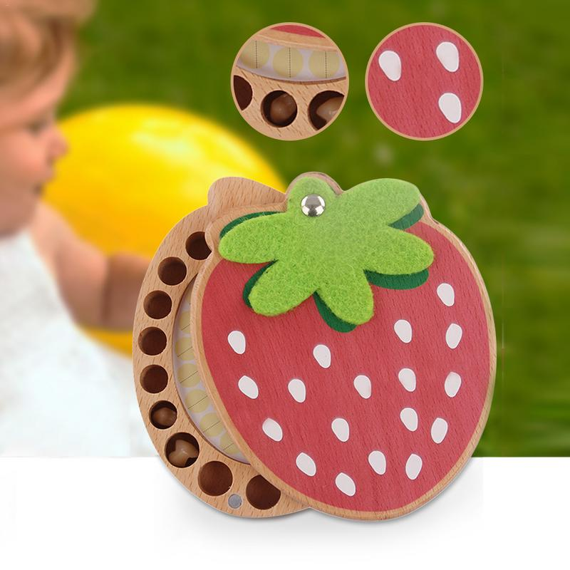 Strawberry Shaped Wooden Crafts Deciduous Teeth Baby Baby Hair Deciduous Teeth Storage Box Growth Souvenir