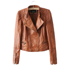 2017 Fashion Autumn Winter Brand Brown Leather Jacket Women Coat Jaqueta Couro Casual Motorcycle Jackets for Woman