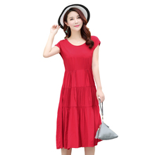 B Plus size S-4XL summer women cotton silk dress plant flower embroidered woman casual loose beach