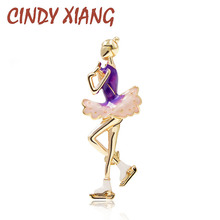 CINDY XIANG New Arrival Cute Figure Skating Girl Brooches for Women Purple Color Enamel Pin Fashion Summer Jewelry T-shirt Gift cindy xiang new arrival cute summer skating girl brooches for women 2 colors choose wearing dress dancing lady brooch pin enamel