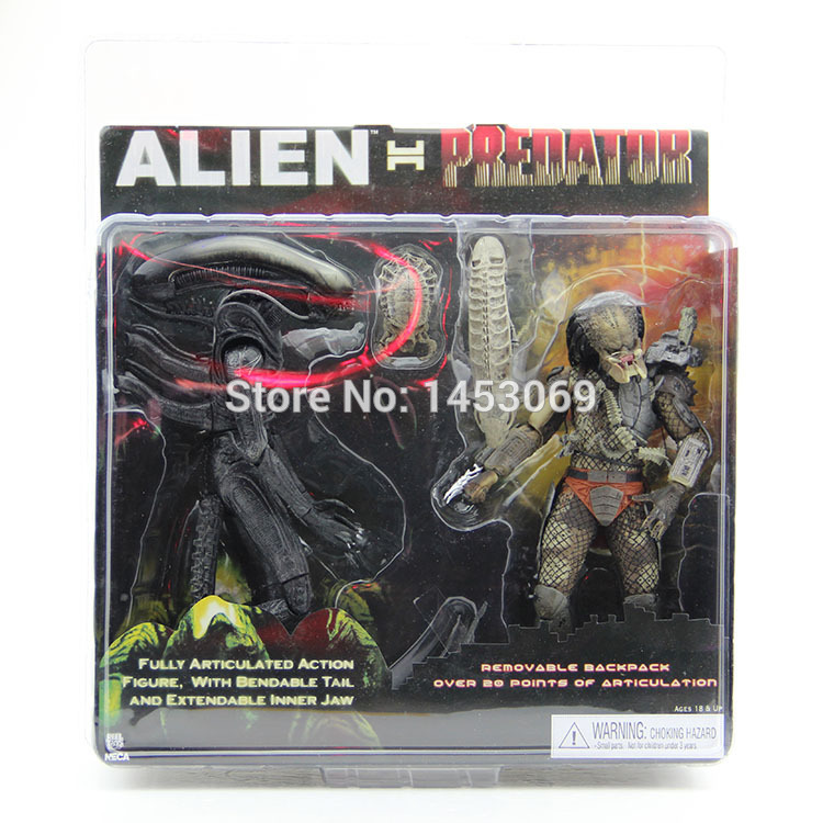 Free Shipping NECA Alien VS Predator Tru Exclusive 2-PACK PVC Action Figure Toy MVFG036 free shipping neca official 1979 movie classic original alien pvc action figure collectible toy doll 7 18cm mvfg035