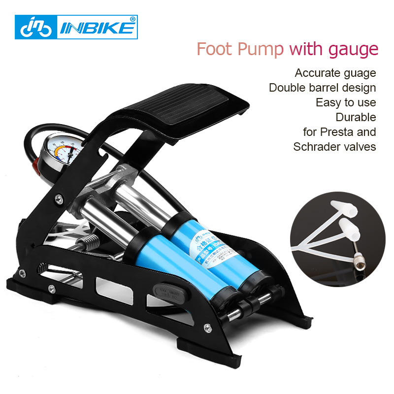 Pompe à pied INBIKE avec jauge vélo pompe à vélo vtt/moto/voiture Schrader & Presta gonfleur haute pression Double baril IQ835
