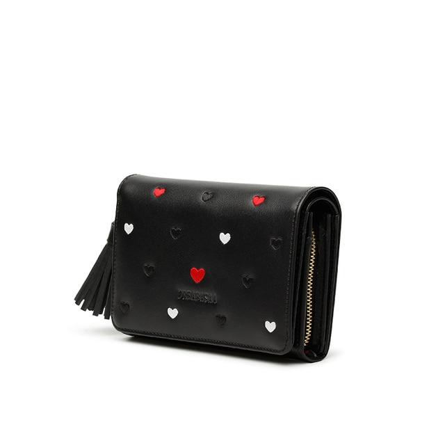 Damski skórzany portfel w serca