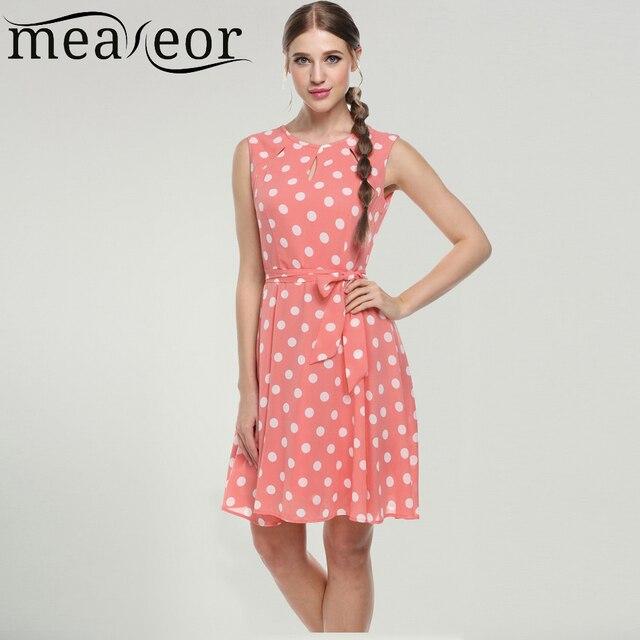 Meaneor 2016 сексуальная vestido лето dress dot печати шифон элегантный повседневная bow dress Белый, розовый, синий, черный