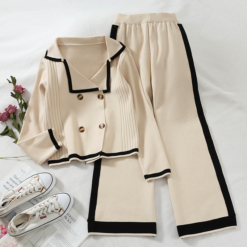 2019women Two Piece Set Top And Pants  Stripe Double-breasted Sweater  + High-waisted Wide-leg Casual Pants Knitted Suit