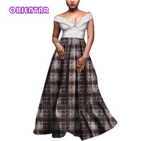 Africa Dress Women Sexy V Neck with Lace Elegant Wedding Dresses African Printed Ball Gown Plus Size African Clothing WY3983