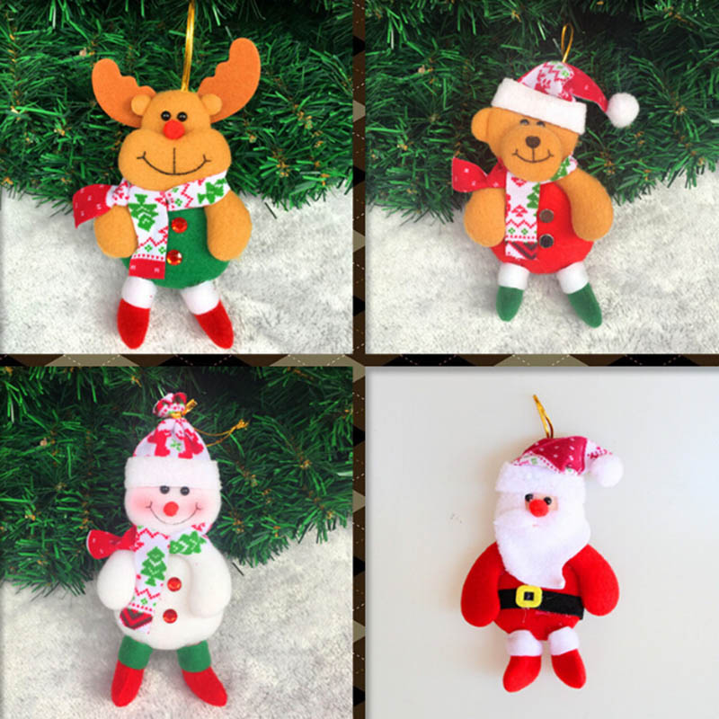 4 pcs cute christmas decorations for home and tree santa claus pendant dear snowman doll childrens - Cheap Christmas Decorations