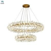 Modern Art Deco Lustre K9 Crystal G4 Led Chandelier Foyer Luxury Plate Gold Circle Ring Adjustable Led Hang Luminarias Lamparas