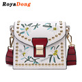 RoyaDong 2017 Spring Women Messenger Bags High Quality Embroidery Flower Flap Shoulder Bag Crossbody Bags For Girls Handbags