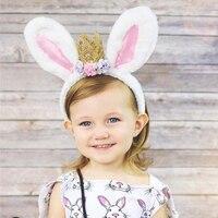 Borage Baby Girls Fashion Crown Headwear Children Toddlor Cute Rabbit Ears Hair Accessories Kids Infant Cotton