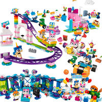 6pcs/sets Cartoon Movie Unikitty Cat Unikingdom Fairground Fun Box Building Block Bricks Toy Compatible Legoings Creator