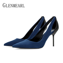 Brand Women Pumps High Heels Shoes Pointed Toe Dress Shoes  Woman Slip On Thin Heels Spring Autumn Female Party Shoes Plus Size недорого
