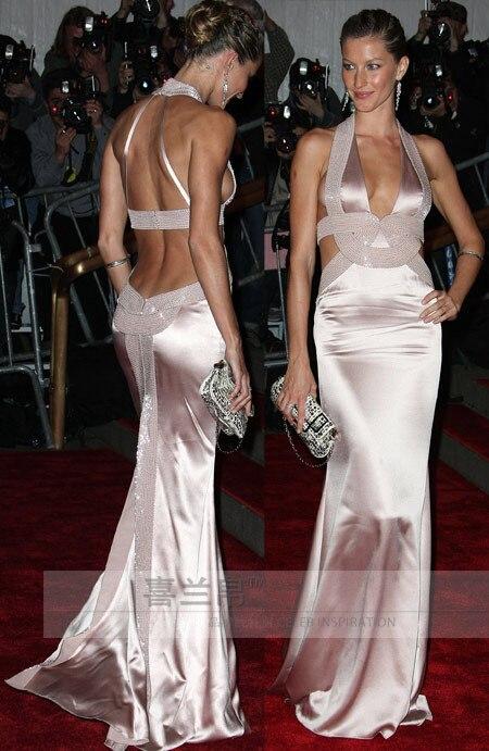 Gisele Bundchen Sexy Evening Dress Met Gala Red Carpet Backless Gowns Handmade Beading -1360