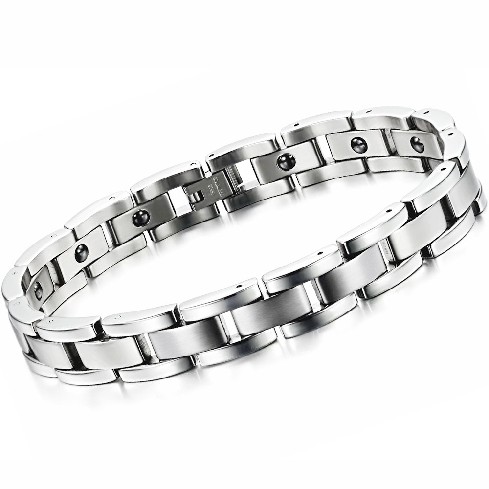 Punk Trend Cool Men S Jewelry Stainless Steel Bracelet Handmade Contain Energy Magnetic Stone Health 8012 In Chain Link Bracelets From