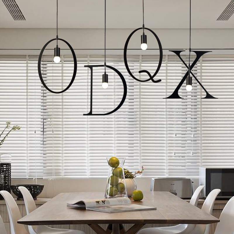 Letters wrought Iron Vintage Pendant lights for home lighting AC110-240V 30W E27 rope lampen retro hanglamp for loft coffeeLetters wrought Iron Vintage Pendant lights for home lighting AC110-240V 30W E27 rope lampen retro hanglamp for loft coffee