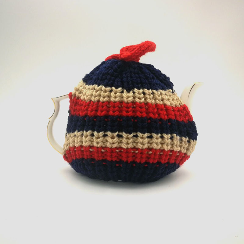 Thanksgiving Tableware Warm Gift Striped Hand Crochet Knitting Teapot Cover Tea Cosy