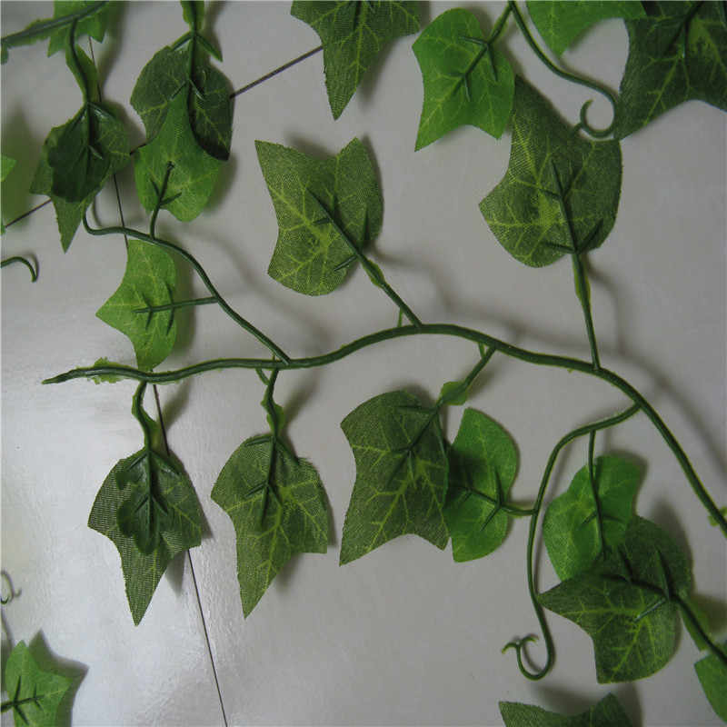 100pcs Leaf 1 piece 2.4M Home Decor Artificial Ivy Leaf Garland Plants Vine Fake Foliage Flowers Creeper Green Ivy Wreath