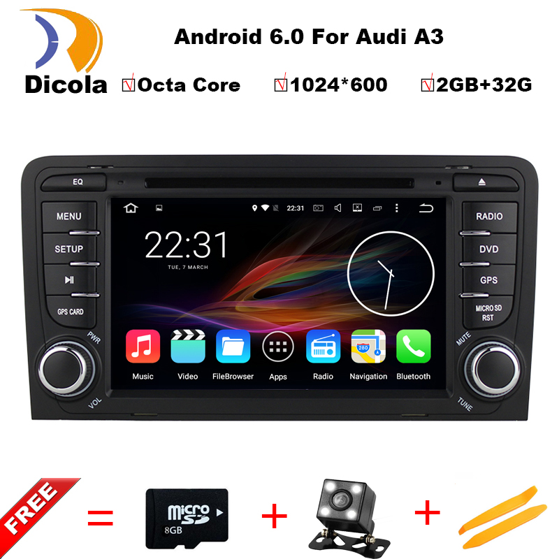 2G RAM+32G ROM Android 6.0 Octa Core Car DVD Multimedia Player For Audi A3/S3/RS3 2002-2011 GPS RDS BT Maps Stereo Head Unit