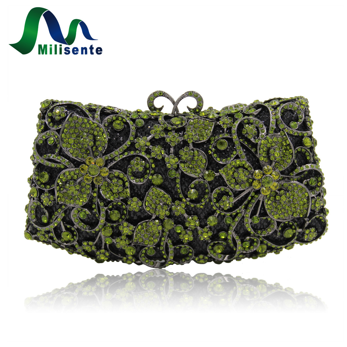 Milisente Women Luxury Rhinestone Clutch Evening Handbag Ladies Crystal Wedding Purses Dinner Party Bag Gold women luxury rhinestone clutch evening handbag ladies crystal wedding purses dinner party bag bird flower purse zh a0296