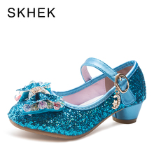 SKHEK New Girls Sandals High Heels Children Fashion Princess Leather Summer Shoes Chaussure Enfants Fille Sandalias цены онлайн
