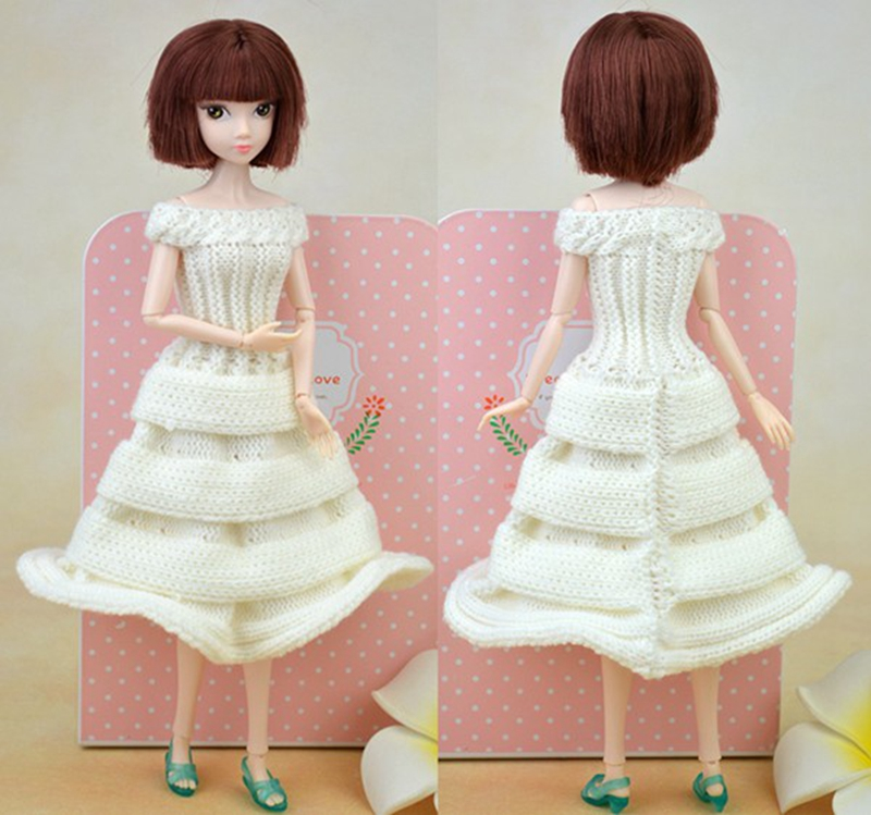 2016 New Handmade Doll Equipment Celebration Marriage ceremony Costume Knitting Sweater Clothes For Barbie Doll Home For 1/6 BJD Doll