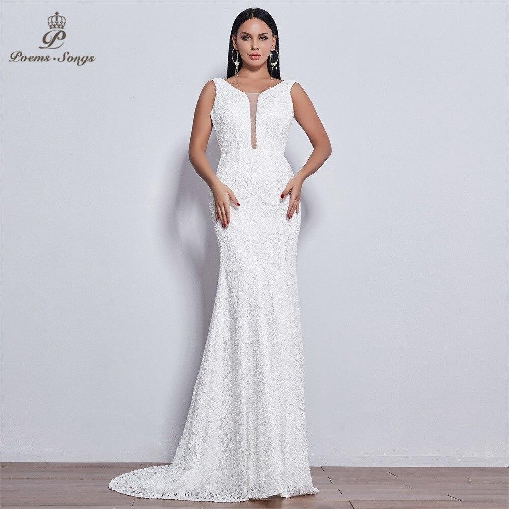 Poems Songs 2019 new elegant style lace wedding dress for wedding Vestido de noiva Mermaid wedding dresses ivory  white color