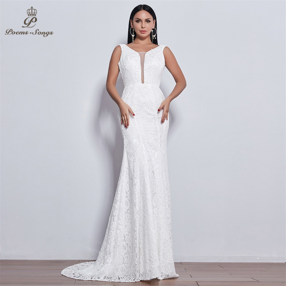 Poems Songs 2019 New Elegant Style Lace Wedding Dress For Wedding Vestido De Noiva Mermaid Wedding Dresses Ivory / White Color