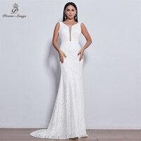 Poems Songs 2019 new elegant style lace wedding dress for wedding Vestido de noiva Mermaid wedding dresses ivory / white color