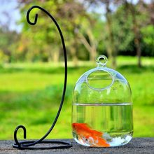 Mini Durable Hanging Ball Terrarium with Bent Stable Stand Glass Fish Tank Flower Vase Plant Bottle Garden(China)