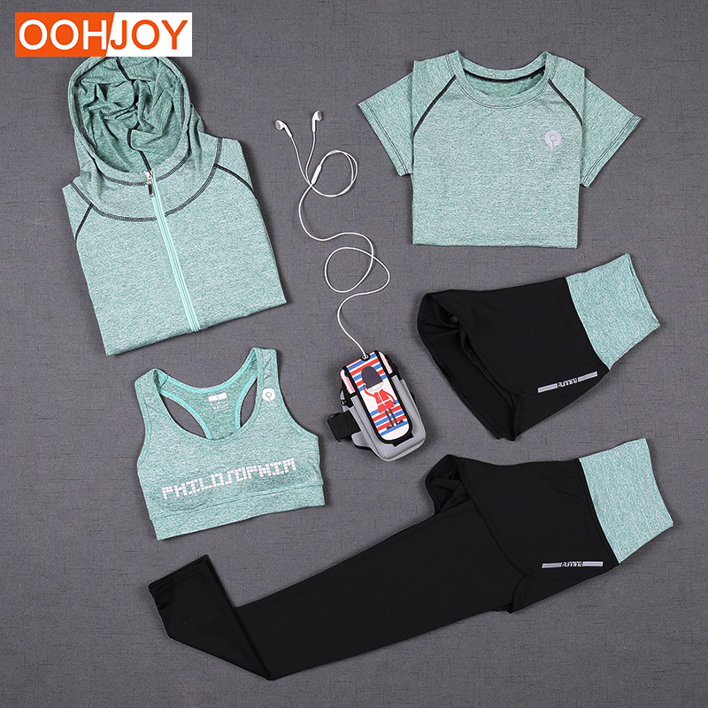 New Women Yoga Suit 5 Piece Yoga Sets 3 Piece Solid Color Yoga Shirt Fitness Tracksuit Running Yoga Pants Sports Bra Sportswear lyseacia breathable sport suit women fitness suit yoga bra long sleeeve hoodies running yoga t shirt sports leggings sportswear
