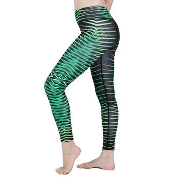 GTZM 2018 Casual Striped Digital Printed Leggings High Waist Plants Pattern Skinny Leggings Workout Pants Athleisure Sportwear leggings