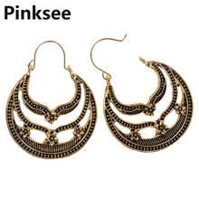 Vintage Spiral Hollow Out Moon Pattern Semi - Circular Earrings Women Retro Ethnic Earrings Brincos Hoop Earrings Jewelry vintage hollow out pattern spiral stud earrings