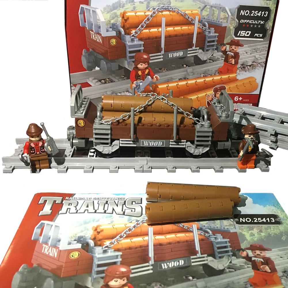Model building kits compatible with lego city trains rails 021 3D blocks Educational model building font