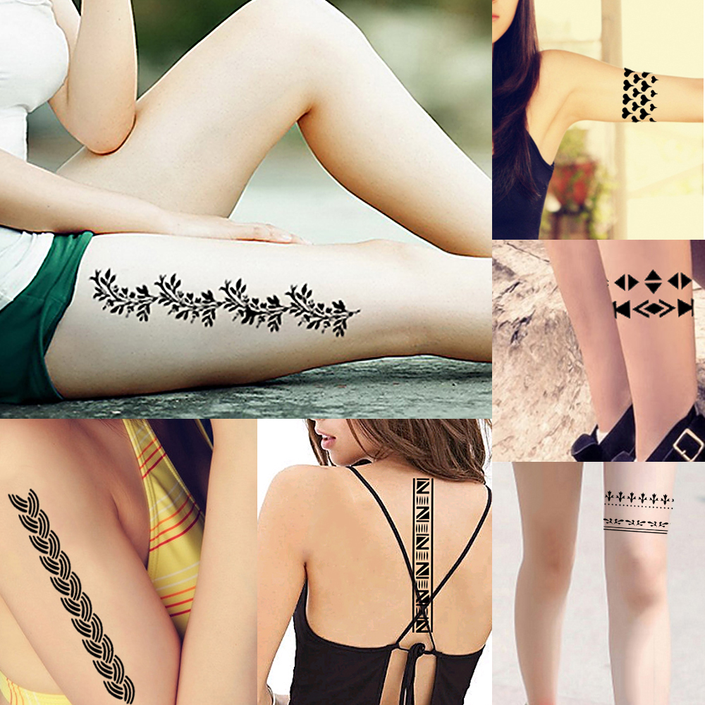 Hot 1 Piece Small Hollow Henna Leg Tattoo Stencil DIY Health Body Art Airbrush Painting Strip Pattern Design Tattoo Stencil S607