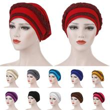 Turbante trenzado Musulmán para la caída del cabello para mujer, cubierta para quimio de cáncer, gorro, gorrito con purpurina, gorros, gorros, moda