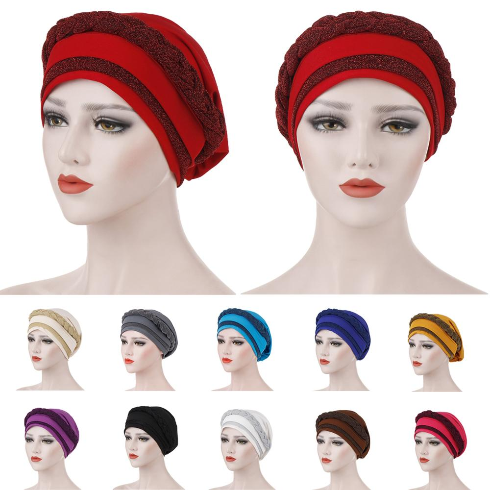 Women Hair Loss Muslim Braid Head Turban Wrap Cover​ Cancer Chemo Cap Hat India Glitter Bonnet Beanies Skullies Fashion