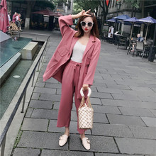 Two piece set top and pants spring summer temperament commute OL suit wide leg two-piece female loose solid color