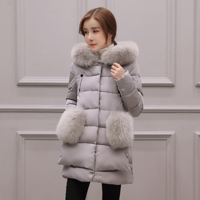 2016 Winter New Arrive Fashion Medium Length Women Down Cotton Coat Loose Casual Thick Warm Collar Hooded Outwear Femme Parka