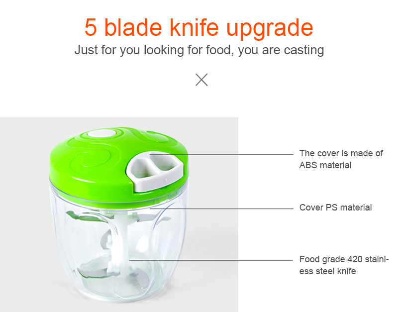 900ML Powerful Meat Grinder Hand-power Food Chopper Mincer Mixer Blender to Chop Meat Fruit Vegetable Nuts Herbs